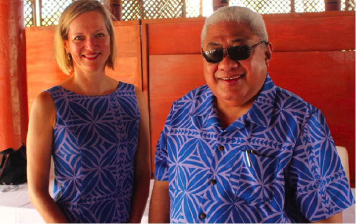 THANK YOU: Chief Justice Patu (right) yesterday thanked Professor Nadja Alexander for her role in the development of the programme. Both are wearing traditional Samoa fabric selected to celebrate the launch of the Mediation Rules